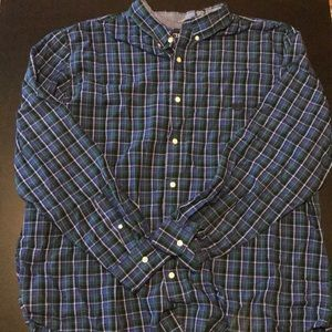 Blue and Green Plaid Long Sleeve Collared Shirt